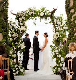 green and white wedding ceremony design