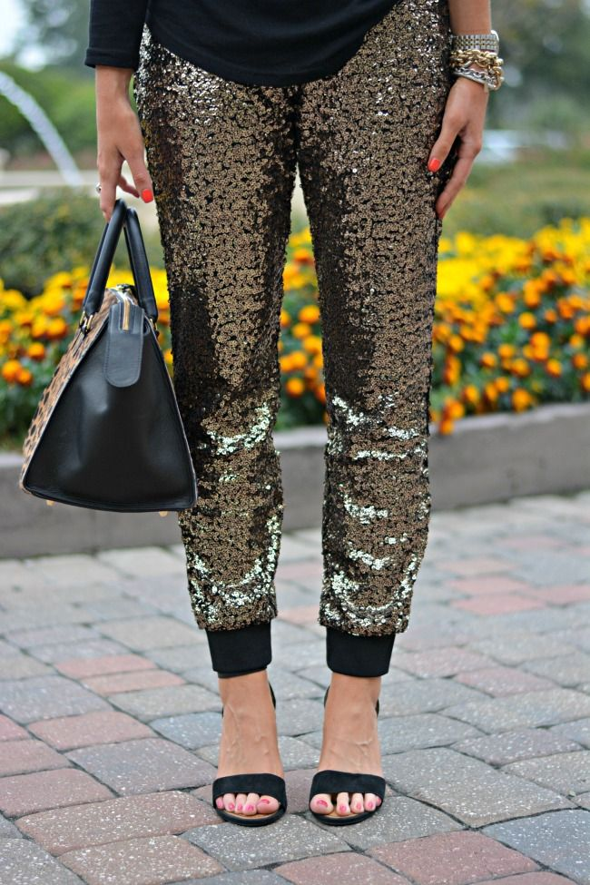 Outfit | Holiday Party Idea. Sequin Legging Pants