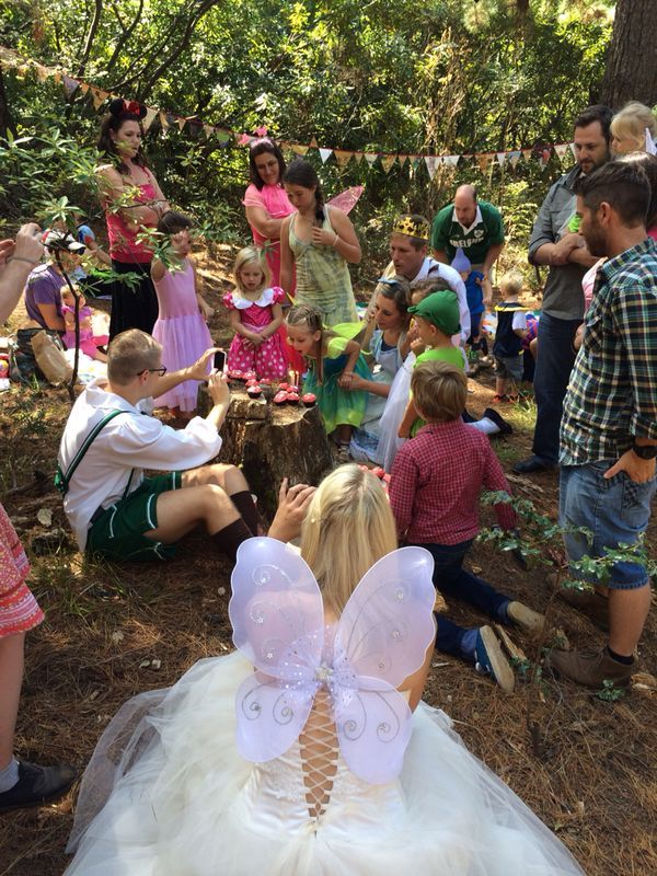 The blowing of the candles watched by Fairy G, the Woodcutter, Hansel and our friends.