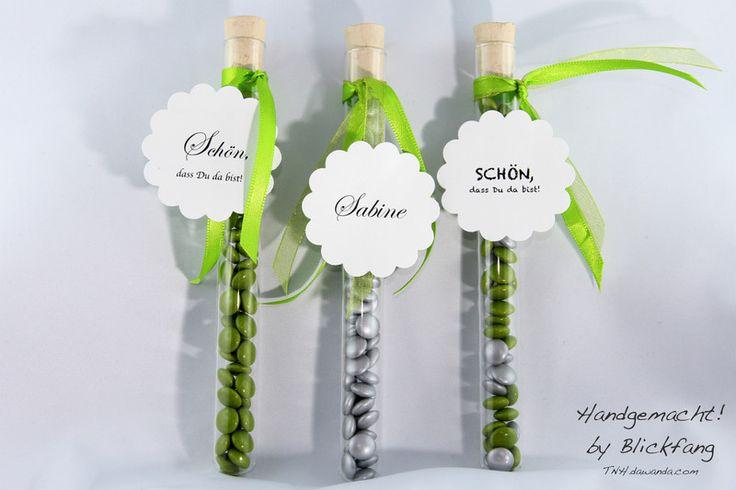 Gastgeschenke - Gastgeschenk Schokolinsen im Reagenzglas, Hochzeit - ein Designerstück von Blickfang_de bei DaWanda