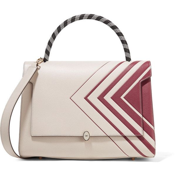 Anya Hindmarch Bathurst printed textured-leather tote (€655) ❤ liked on Polyvore featuring bags, handbags, tote bags, pink tote bags, zippered tote bag, anya hindmarch tote, woven tote bags and pink purse