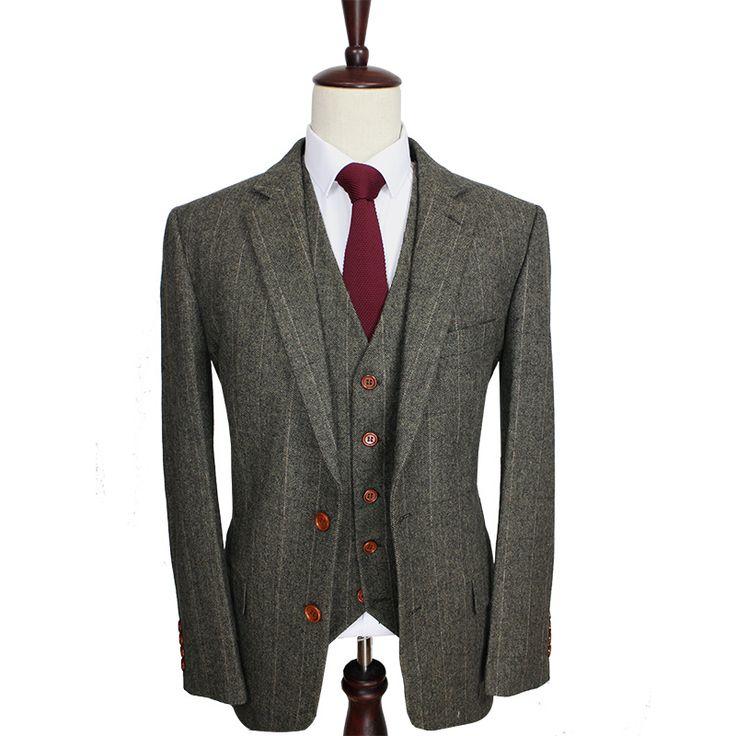 Free Shipping Custom Made Dark green Herringbone Men Suits Slim Fit wedding suit men's Tailor made Suit(Jacket+Pants+Vest)