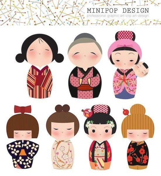 Set of Cute Japanese Female Kokeshi Characters - Printable Digital Clip Art