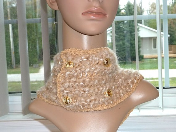 Cowl Crochet Lite Beige and Fluffy Lite by SouthamptonCreations, $15.00