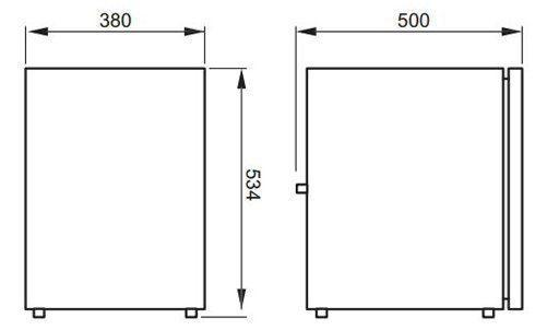 Waeco CR50 front loading fridge dimensions