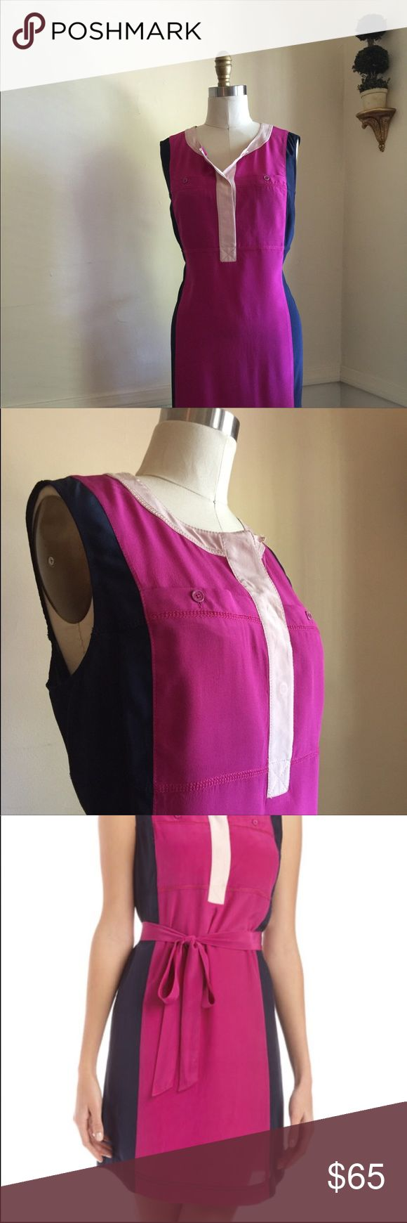 • TORY burch ahirtdress • EUC * Magenta & Navy * Silk * Colorblock Construction * Sophisticated & Stylish * Chest pockets * Back Pleating * Chest 42 * Length 37 * Missing Pink Sash (Dress is meant to be cinched) Tory Burch Dresses