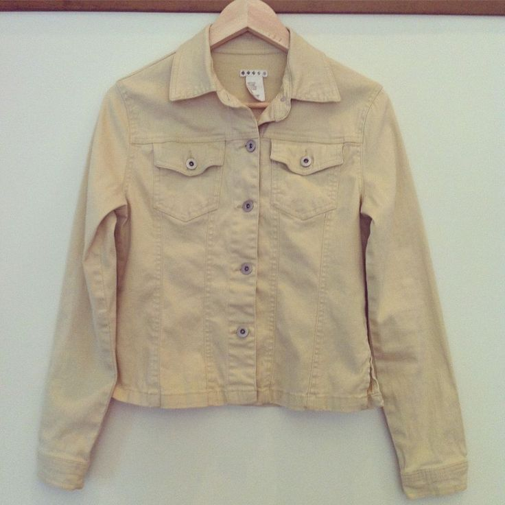 WOMEN Yellow Jean Long Sleeves Two Front Pockets Jacket Coat Casual Size S Girl #Unknown #JeanJacket