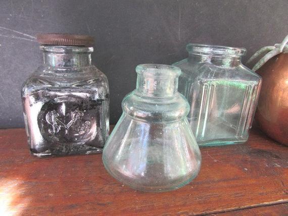 Antique Glass Inkwells Trio Of Vintage Ink Bottles Blue Green Glass Sandford Ink Carter Ink 1897 Old Glass Bottles Vintage Green Glass Antique Glass