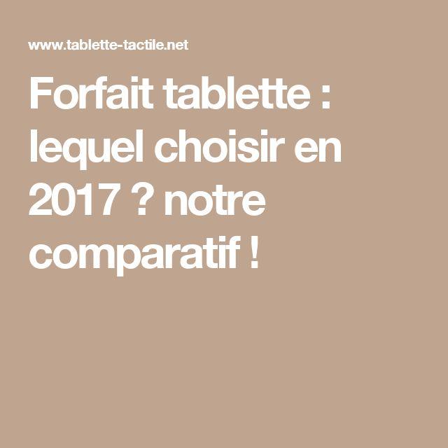 Forfait tablette : lequel choisir en 2017 ? notre comparatif !