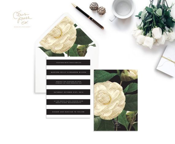 CAMILLA SUITE // Stripe Wedding Invitation by CitrusPressCo