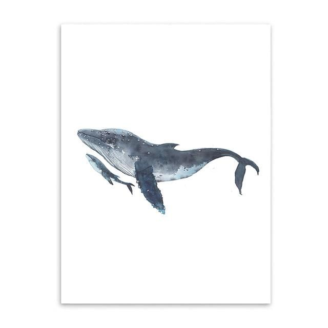 Watercolor Whales Canvas Art Print Painting Poster, Wall Pictures for Home Decoration, Wall Decor S16014