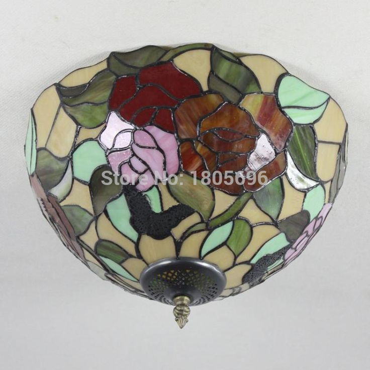 Indoor Lighting Tiffany Ceiling Light Vintage Art Color Glass Butterfly Rose Ceiling Lamp for Living Room Plafon Tiffany Dia35cm-in Ceiling Lights from Lights & Lighting on Aliexpress.com | Alibaba Group