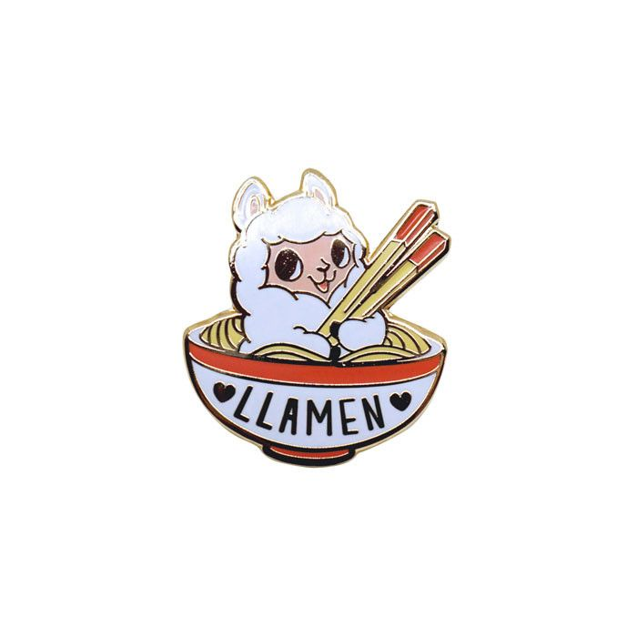 A bowl of ramen with an added llama for a totally funny and cute enamel pin mash up. Hard enamel pin with rubber backing. Artwork by LindaPanda. - Measures about 1 x 1 in.