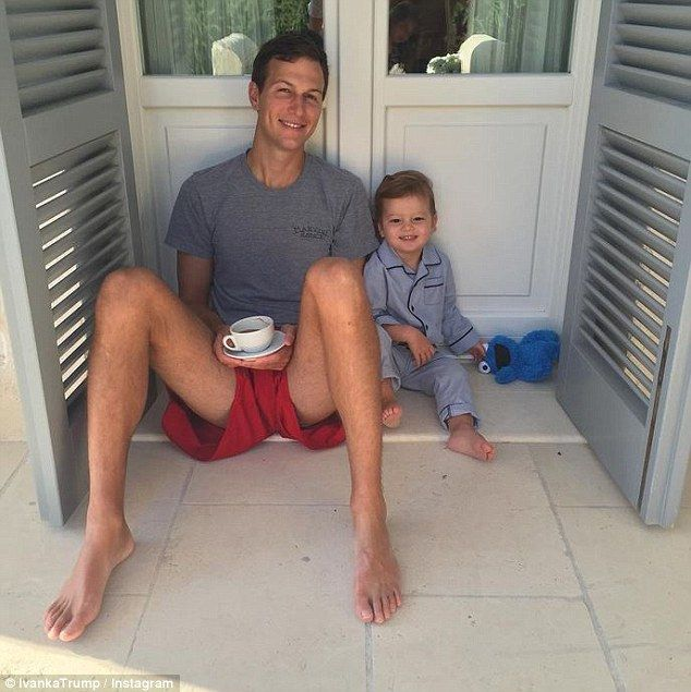 jared kushner young   Breakfast with the boys: Ivanka also shared this adorable shot of ...