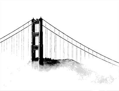 golden gate bridge art print - Japanese Garden Bridge Drawing