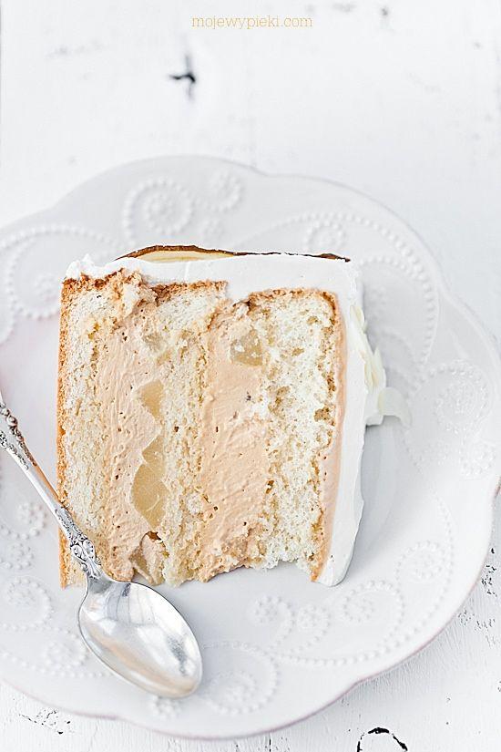 Pear cake with dulce de leche cream filling and almond mascarpone cream frosting.