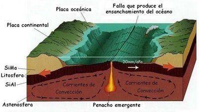 En 1962, Harry Hess formuló la hipótesis de la expansión del fondo de los océanos, considerando que dicha expansión ocurre en las dorsales oceánicas, donde se forma nueva corteza oceánica mediante actividad volcánica y el movimiento gradual del fondo alejándose de la dorsal. Este hecho ayudó a entender la deriva continental. Se cree que el fenómeno es causado por corrientes de convección en la parte débil y plástica de la capa superior del manto. #tectonicaplacas