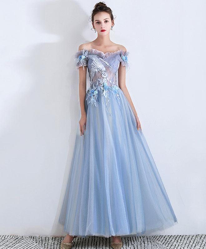14bd4cacf Blue sweetheart lace long prom dress