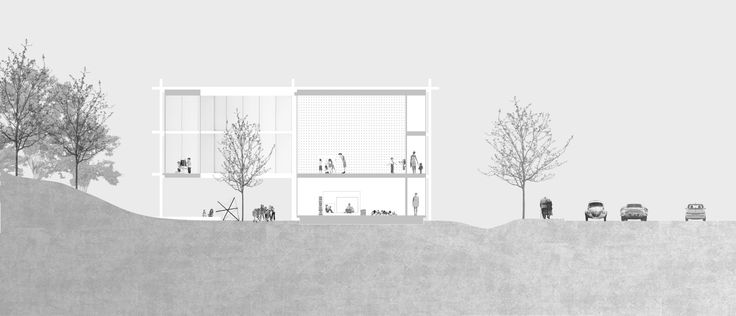 """Imberg Arkitekter - Proposal for """"Barnrum"""" - A space for children in Stockholm. Cross section."""