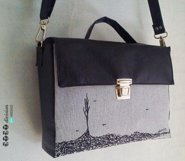 Bolso handmade con tela ilustrada a mano/colaboración CoCo division y Sonia Sempere  http://cocodivision.com/