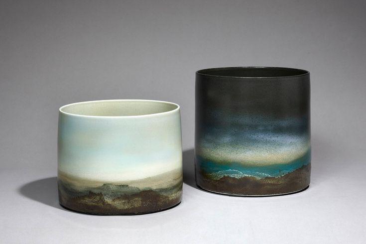 """Jean GIREL (né en 1947) """"Paysages"""". Porcelaines. 2012"""