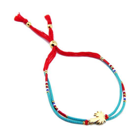 Zoe Red & Aqua double strand seed bead bracelet