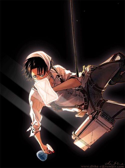 Levi shingeki no kyojin attack on titan snk aot cleaning gif