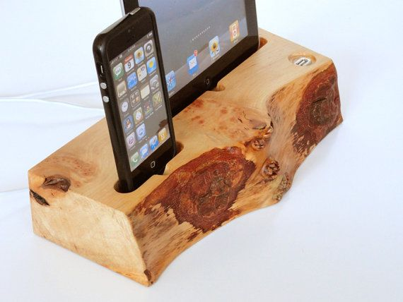 iPad dock / iPhone dock / iPod dock - dual dock from wood with extra USB port - unique gadget