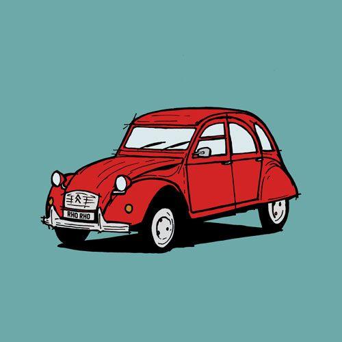 Citroen 2CV: bespoke vehicle drawing | bespoke vehicle illustrations | RHORHO illustrations
