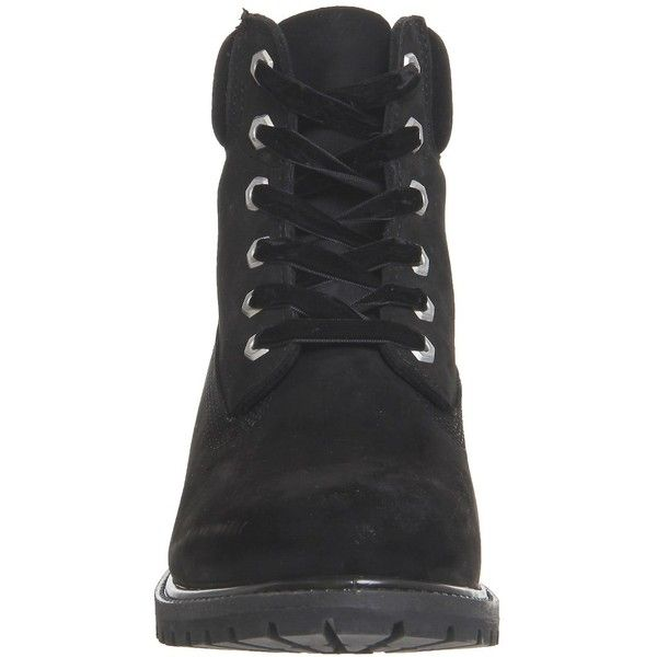 Timberland Premium 6 Boots Black Velvet (295 CAD) ❤ liked on Polyvore featuring shoes, boots, velvet shoes, black boots, black shoes, kohl shoes and black velvet boots