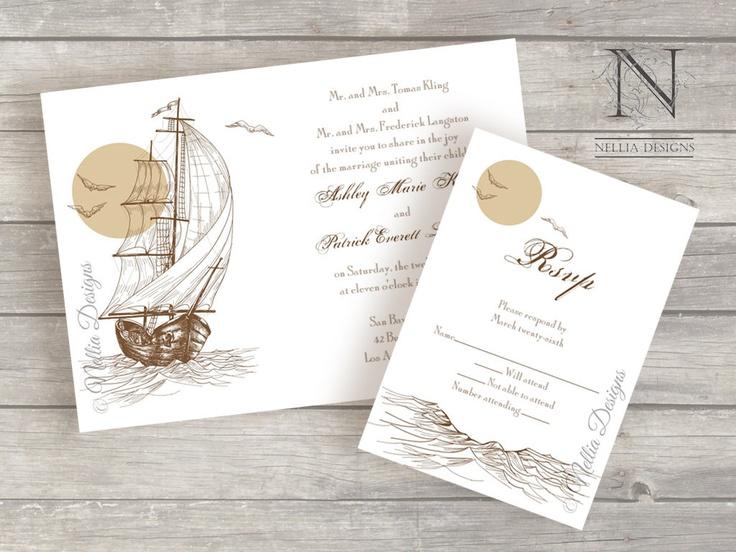 Sailboat Wedding Invitations: Vintage Boat Wedding Invitations With RSVP And Envelopes