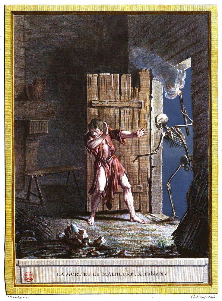 La mort et le malheureux, fable XV, La Fontaine, 1755-1759 #LivreAncien