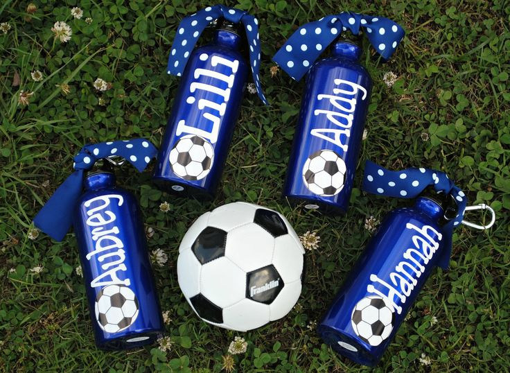 Aluminum Water Bottle Soccer Theme - good gifts for teammates' birthdays, etc.