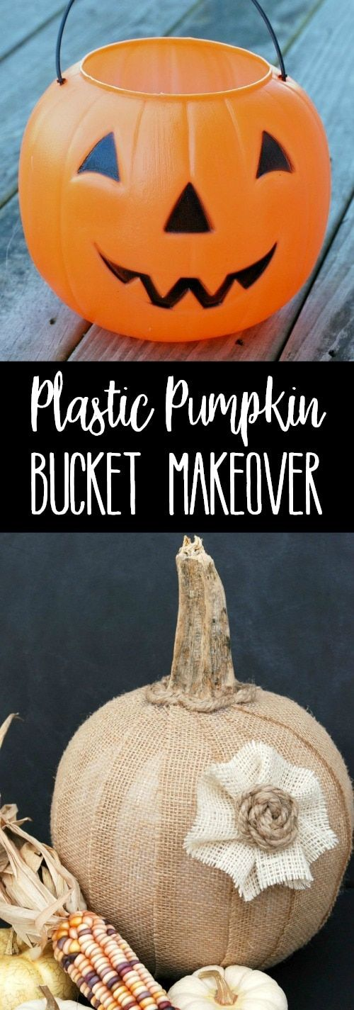 This Plastic Pumpkin Bucket Makeover is a great dollar store craft that'll let you move your decor from Halloween to Fall in a snap! via @breadboozebacon