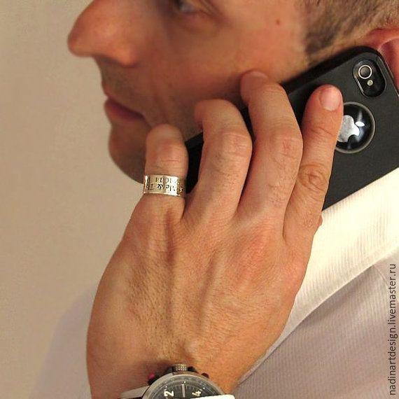 Купить Мужское широкое кольцо. Стильный аксессуар с гравировкой на заказ - серебряный, кольцо