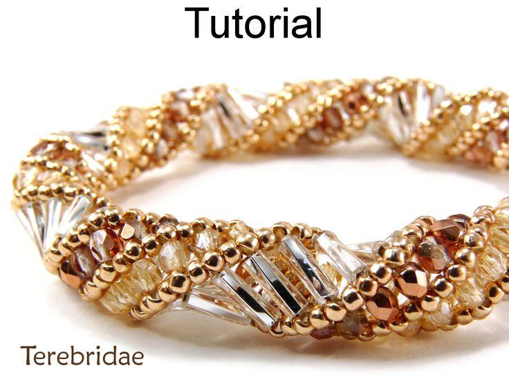 Beading Pattern, Beadstitching Tutorial, Beaded Bracelet Necklace #1843- 10lb FireLine beading thread - #12 long beading needle - 11/0 seed beads - 3mm round beads