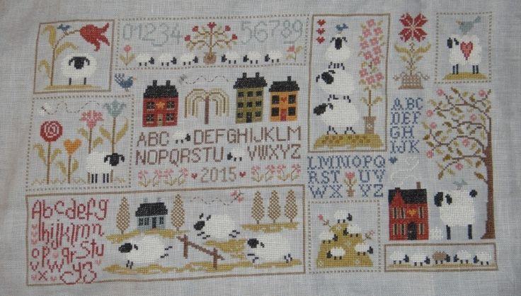Histoire de moutons jardin priv french cross stitch for Jardin prive