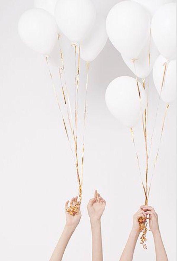 gold + white balloons