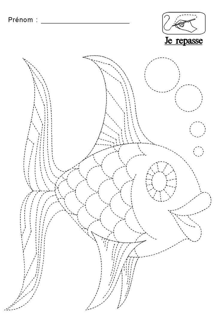graphisme repasser les pointillés du poisson
