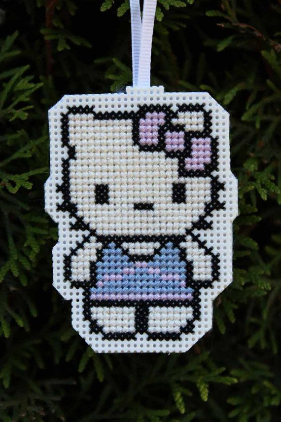 Handmade Hello Kitty Cross Stitch Christmas Ornament