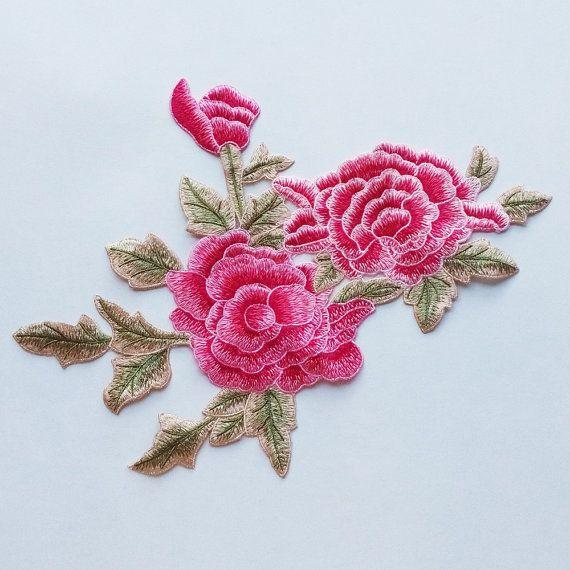 Elegante flor Rosa Roja bordado apliques el parche por 8Store