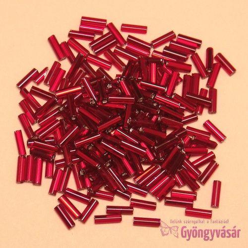 Ezüst közepű piros, 7 mm-es cseh szalmagyöngy (10 g)