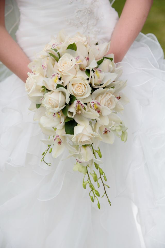 Orchid Bridal Bouquet By The Topiary Tree Using Cymbidium Orchids