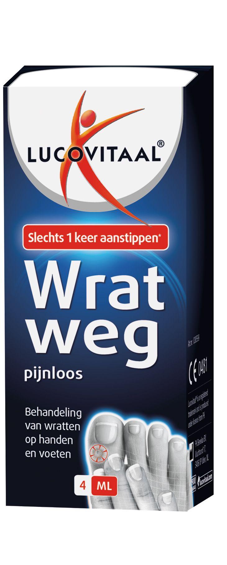 Lucovitaal Huid Wrat Weg Vloeibaar Handen en Voeten 4ml  Lucovitaal Wrat Weg. Dit product is een medisch hulpmiddel voor de behandeling van gewone wratten. Het bevat monochloorazijnzuur een stof die een afbrekende werking heeft op de huid. De wrat zal laagje voor laagje loslaten. Monochloorazijnzuur zorgt er voor dat de cellen die het wrattenvirus bevatten verdwijnen. De voordelen: Een voordeel van het gebruik van DermaForte Wrat weg is dat het aanstippen van de wrat geen pijn doet mits…
