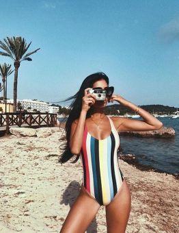 Women's Rainbow Stripes One Piece Swimsuit
