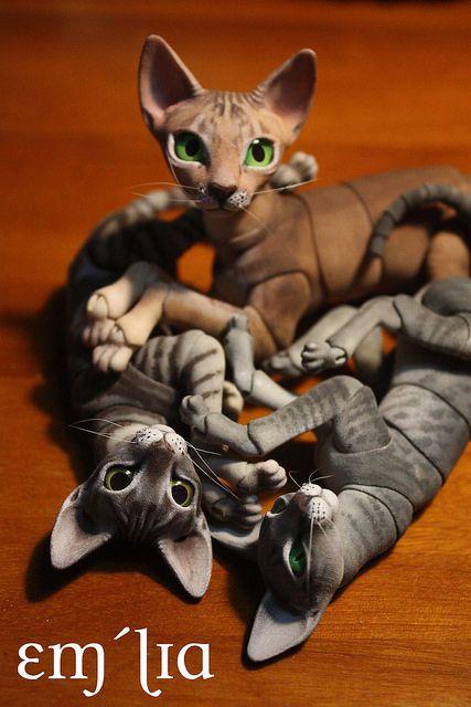 Fantasy | Whimsical | Strange | Mythical | Creative | Creatures | Dolls | Sculptures | ☥ | malaryush-dolls: Oleum Cat Pile by em`lia on Flickr.