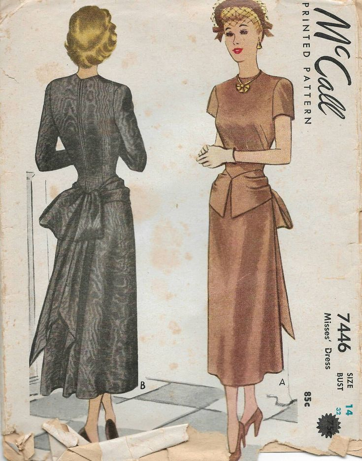 40s McCall's bustle bow dress sewing pattern 7446, Bust 32 inches by Tigrisa on Etsy https://www.etsy.com/uk/listing/557966396/40s-mccalls-bustle-bow-dress-sewing