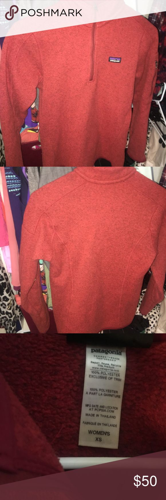 Patagonia Red Women's Better Sweater 1/4 Zip This is in perfect condition! Only worn around 5 times. Only selling because it's too small! This retails for $99.99. Patagonia Tops Sweatshirts & Hoodies