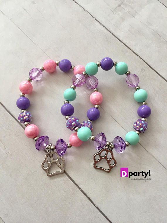 This listing is for a super cute beaded bracelet with metal charm. Its perfect for a Paw Patrol or Dog themed party and would make perfect party favors. Each bracelet is made with high quality plastic pearls and is set on a super strong double elastic. Bracelets are kids sized and would