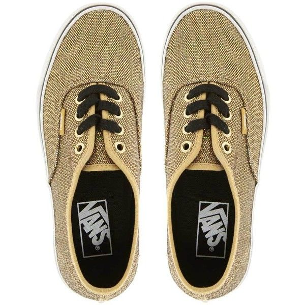 Vans Authentic Gold Glitter Trainers ($48) ❤ liked on Polyvore featuring shoes, sneakers, gold, vans, canvas lace up sneakers, gold trainers, laced sneakers, laced shoes and vans sneakers
